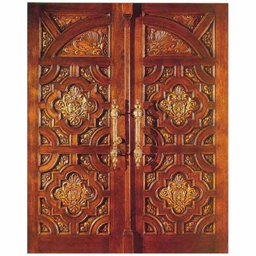 Double teak door custom door double teak door design for Teak wood doors designs