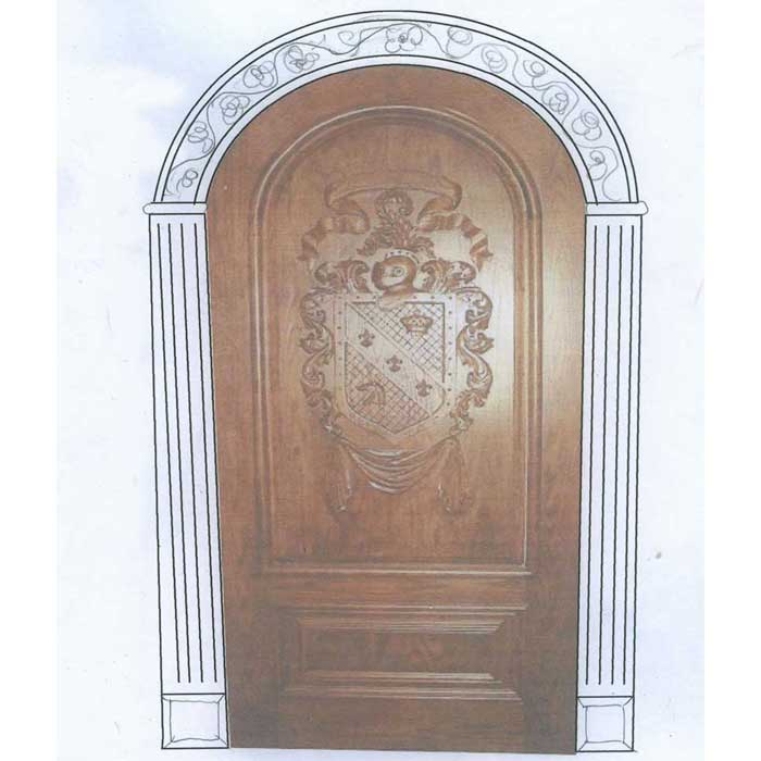 Two Custom Doors With Coat Of Arms Carving And Design Art