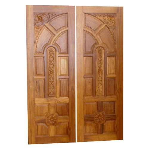 Double door custom teak double door thai carving design for Entry double door designs