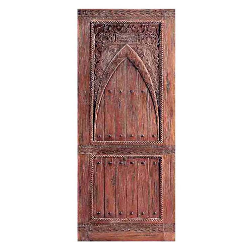 Two Single Wood Doors With Moroccan Carving Design